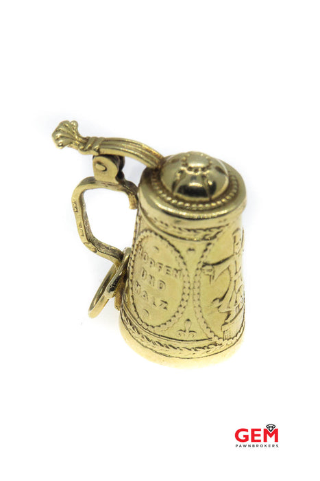 Antique 14K 585 Yellow Gold German Beer Mug Erhaltes Stein Charm