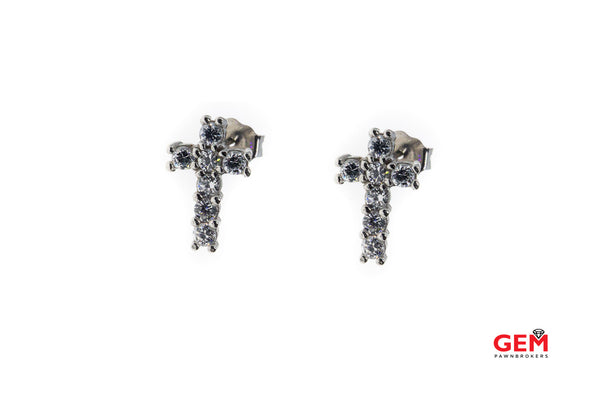 Cubic Zirconia Religious Cross Studs Solid 14K 585 White Gold Crucifix Earrings
