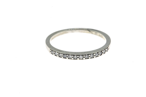 LJ Legend Jewelry 2mm Diamond Line Band 10K 417 White Gold Ring Size 6 1/2