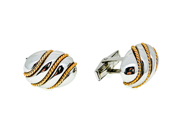 Dolan & Bullock Rope Oval 925 Sterling Silver & 14K 585 Yellow Gold Cufflinks