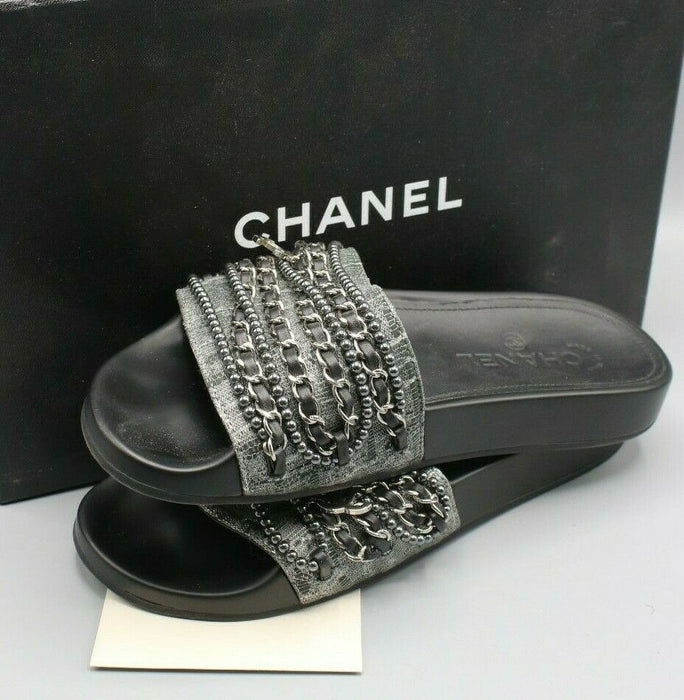 Chanel Women's Tweed Pearl and Chain Black Mules Size 37 / 6.5