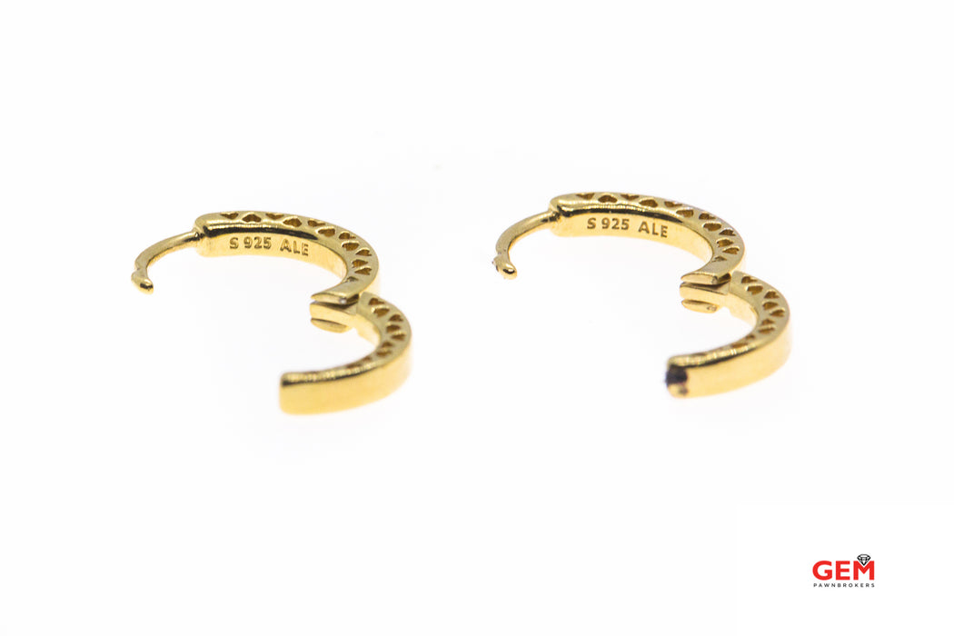 Pandora ALE Polished Round Hoop 925 Sterling Silver Gold Tone Pair Earrings