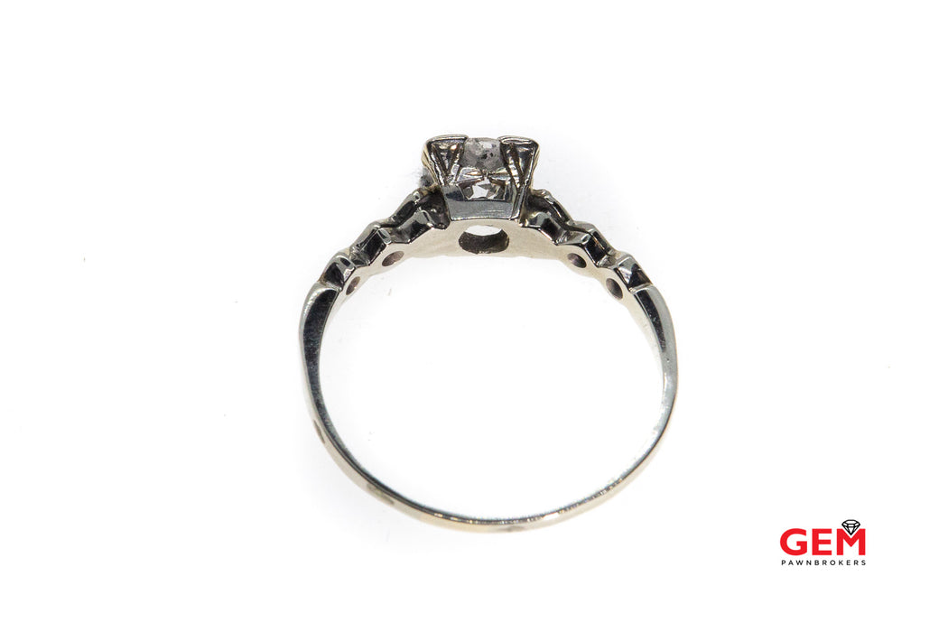 Antique Diamond 14k 585 White Gold Filigree Size 6.5 Wedding Ring Solitaire