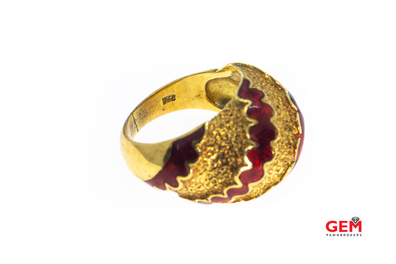 Italy Domed Red Enamel Wave Band 18K 750 Yellow Gold Ring Size 4 1/2