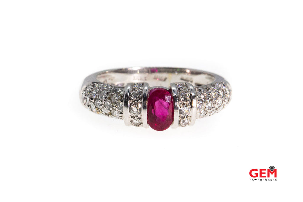 Natural Oval Ruby & Diamond Cluster Pave Band Italy 18K 750 White Gold Ring Size 6