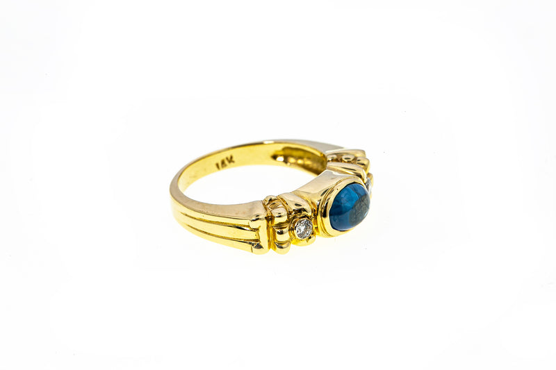 Natural Blue Sapphire & Diamond Accent 14K 585 Yellow Gold Ring Size 6 3/4