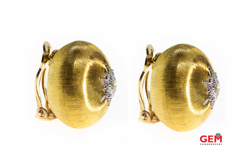 Buccellati Italy Macri Diamond Button Clip On 18K 750 Yellow & White Gold Rigato Dome Earrings