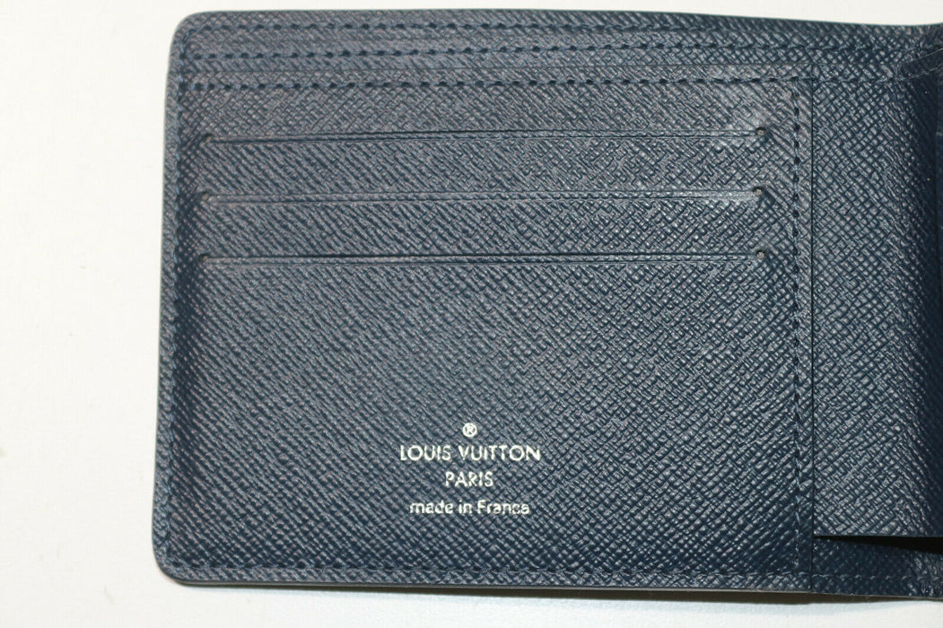 Louis Vuitton Taiga Leather Blue Multi Wallet