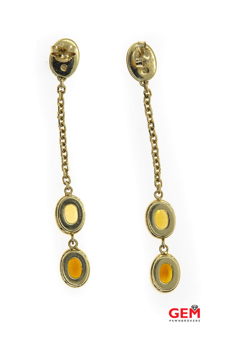 Diamond Pave & Citrine Gemstone Chain Link Drop Dangle 14K 585 Yellow Gold Earrings