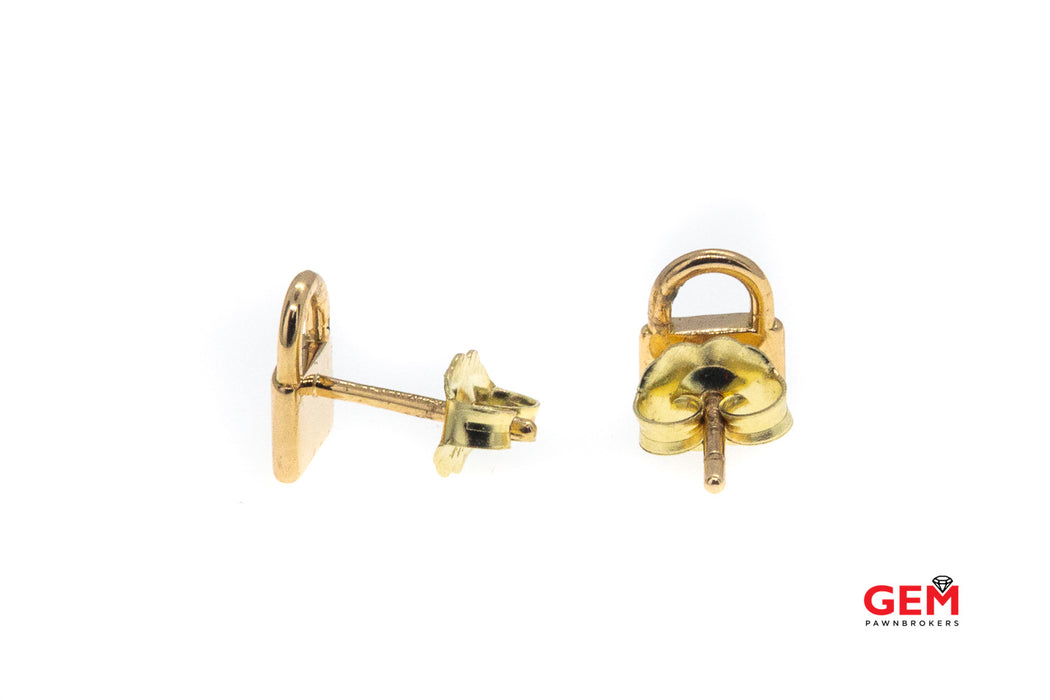 Tiffany & Co Mini Padlock Love 18K Rose 750 Gold Stud Pair Earrings