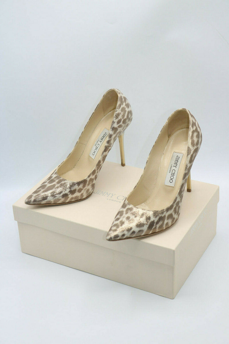 Jimmy Choo Light Gold Leopard Shimmer Leather High Heel Shoes Size 37.5