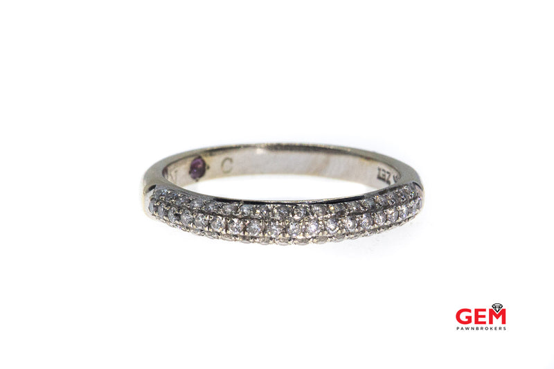 Kay ZEI 3 Row Diamond Pave Stackable Half Band 14K 585 White Gold Small Dome Ring Size 7 1/4