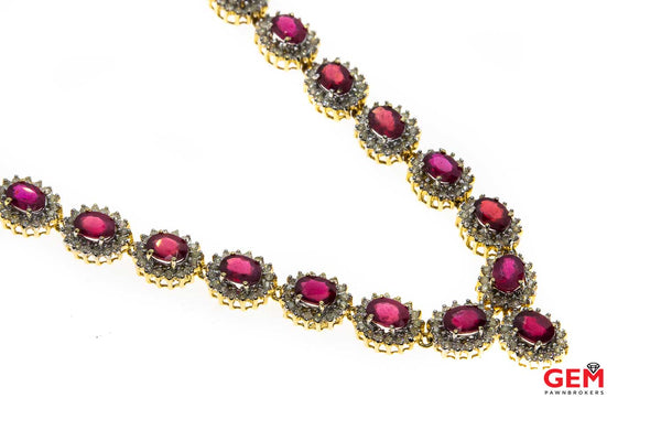 Natural Ruby & Diamond Halo Tennis Cocktail 14K 585 Yellow & White Gold Necklace