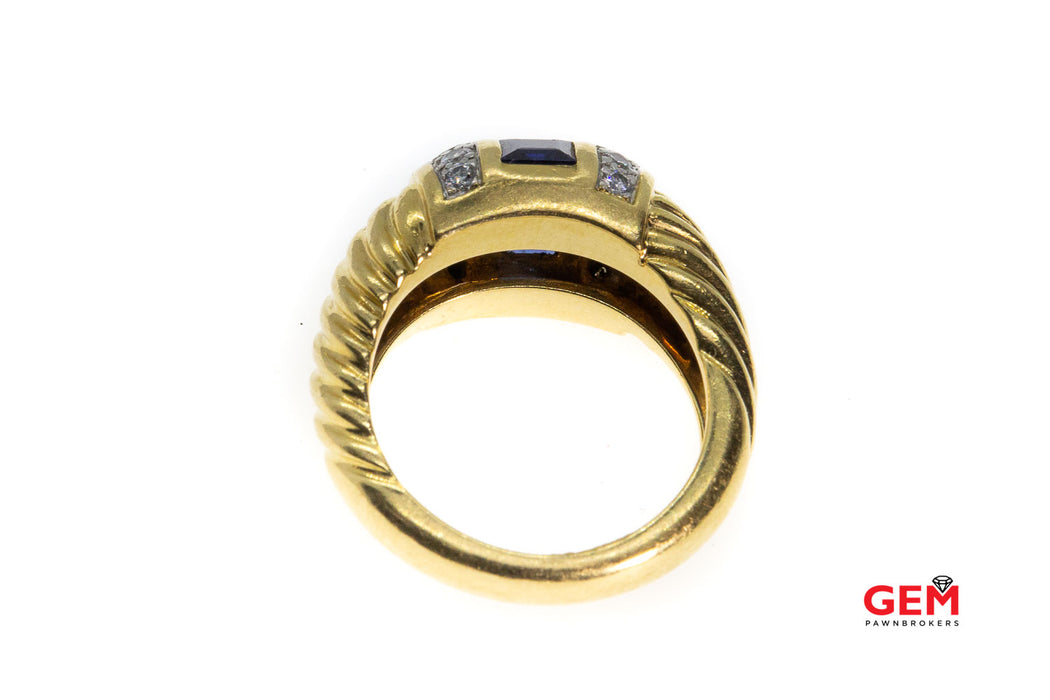 Charles Turi 18 KT Solid Yellow Gold Sapphire Diamond Ring Size 6
