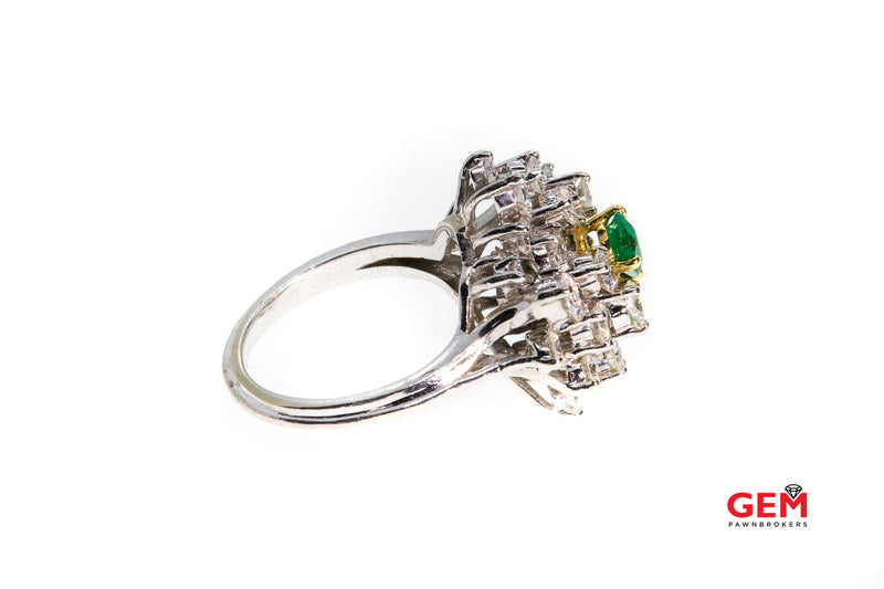 Natural Pear Emerald & Diamond Cluster 14K 585 White & Yellow Gold Cocktail Ring Size 5 1/2