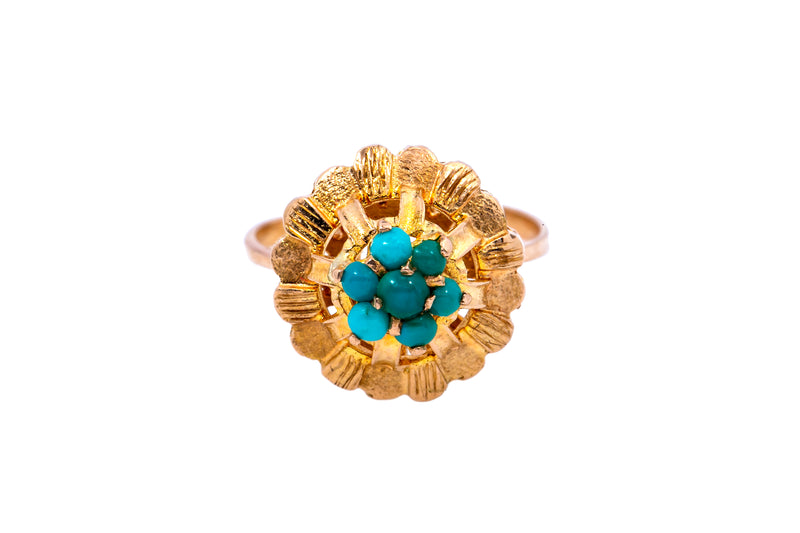 Antique English Turquoise Cocktail Cluster Band 18K 750 Yellow Gold Ring Size 5
