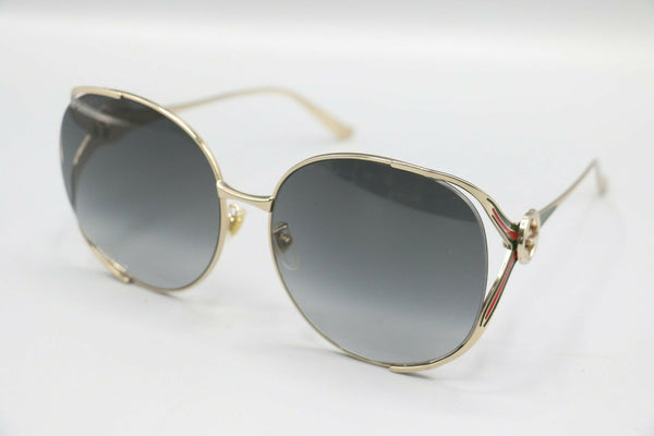 GUCCI GG0225S 001 Fork Gold Grey 63 mm Women's Sunglasses
