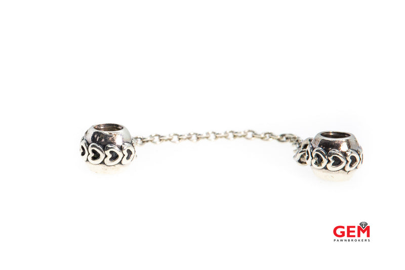 Pandora ALE Love Connection Safety Hearts Chain Bead 925 Sterling Silver Charm