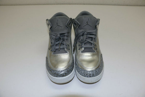 Nike Air Jordan 3 Retro PREM HC Heiress Chrome Silver AA1243-020 GS 9.5Y