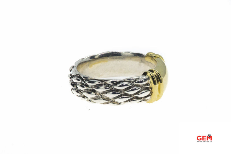 David Yurman Cable Mesh 9mm 925 Sterling Silver & 18K 750 Yellow Gold Ring Sz 10