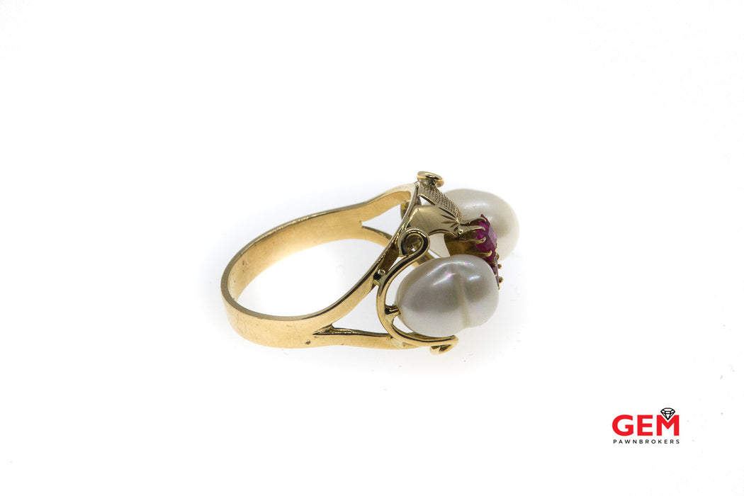 Vintage Baroque Pearl Pink Sapphire Ring 14k 585 Yellow Gold Size 7