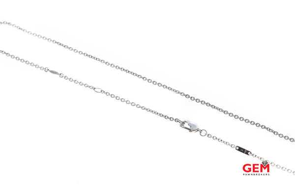 "Designer Fancy Lock 1.9mm Chain Link 18K 750 White Gold 17.5"" Necklace"
