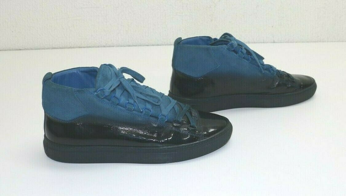 Balenciaga Arena High Top Patent Leather Suede Blue Degraded EU 42 US 9 373399