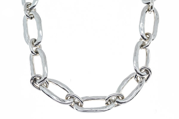 "Uno de 50 Sterling 925 Silver 24"" Oval Link Snow Chain Necklace"