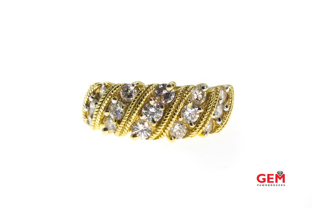 Rope Style Twisted Diamond Milgrain Band 18K 750 Yellow Gold