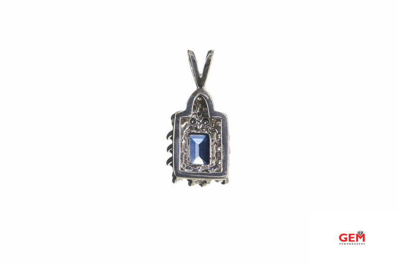 Natural Emerald Cut Sapphire & Diamond Halo Charm 14K 585 White Gold Pendant