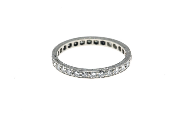 Full 2.4mm Estate Carved Diamond Stackable Eternity Band 950 Platinum Ring Size 7 1/2