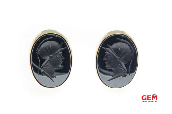 Hematite Intaglio 14K 585 Solid Yellow Gold Cufflinks Tie Tack Set