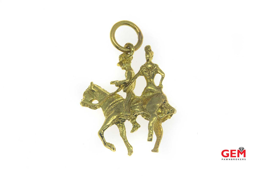 18 KT Yellow Gold Cowboy Rodeo Charm Pendant