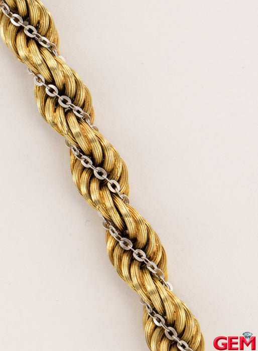 Vintage 14k 585 Italy Uno A Erre White Yellow Rope Chain Bracelet 9mm 7""