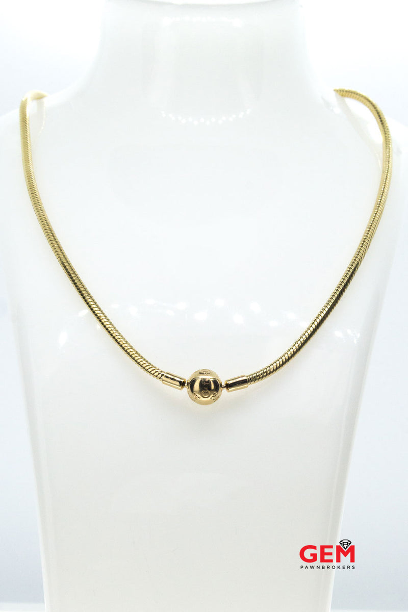 Pandora Signature Moments Clasp 14K Yellow 585 Gold Chain Charm Necklace (2)