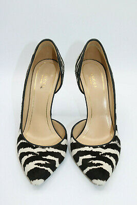 Gucci Zebra Pattern Pony Hair Stiletto Pumps Brown/White Size Eur 37