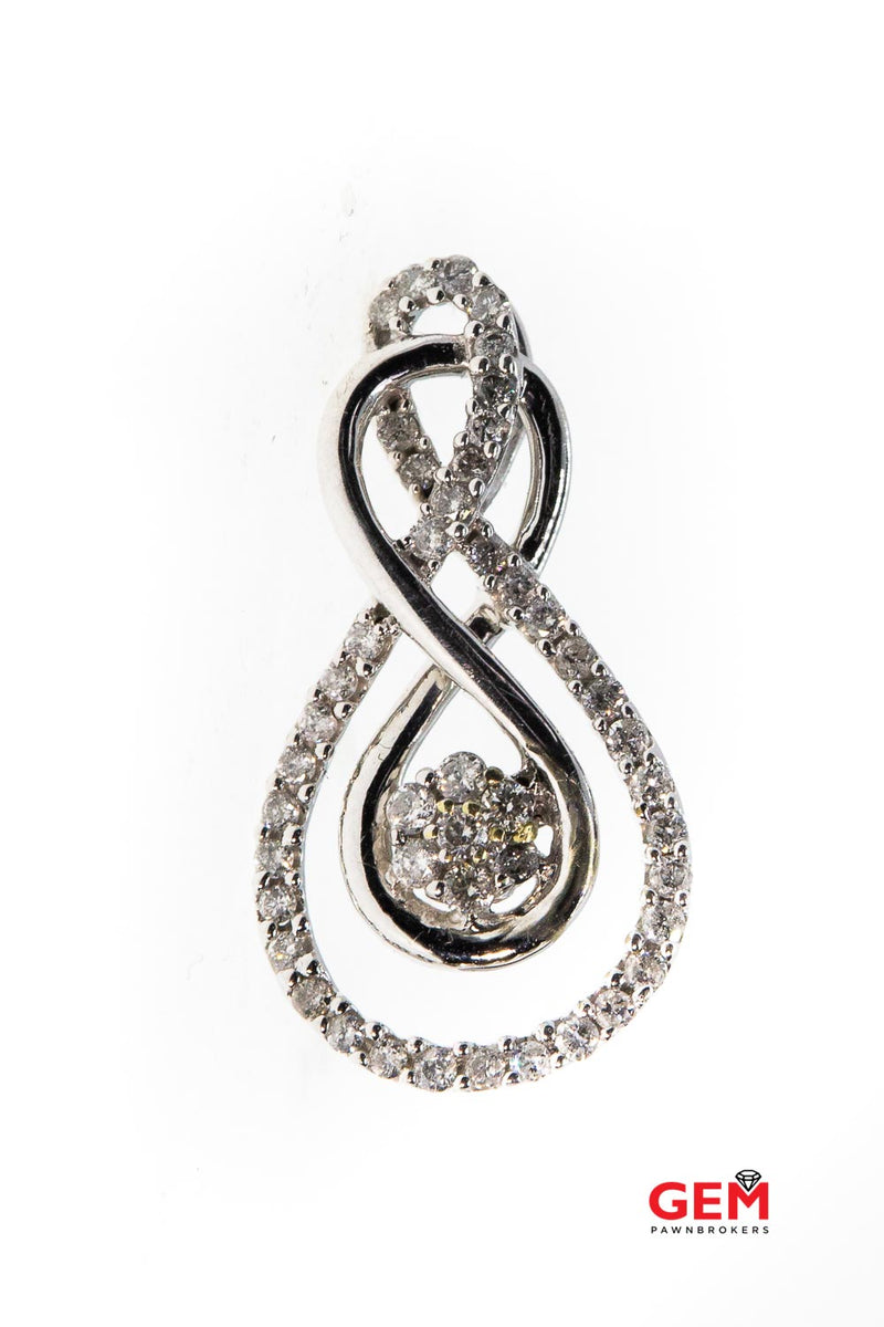 Diamond Pave Swirl Interwoven Tear Drop Cluster Charm 10K 417 White Gold Pendant