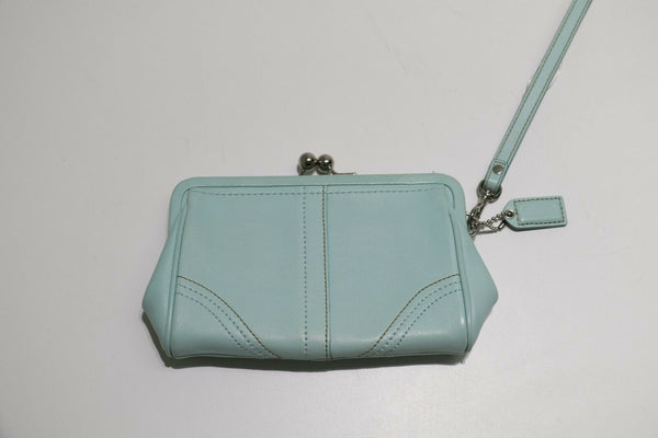 Coach: Blue leather stitched - Silver Hardware