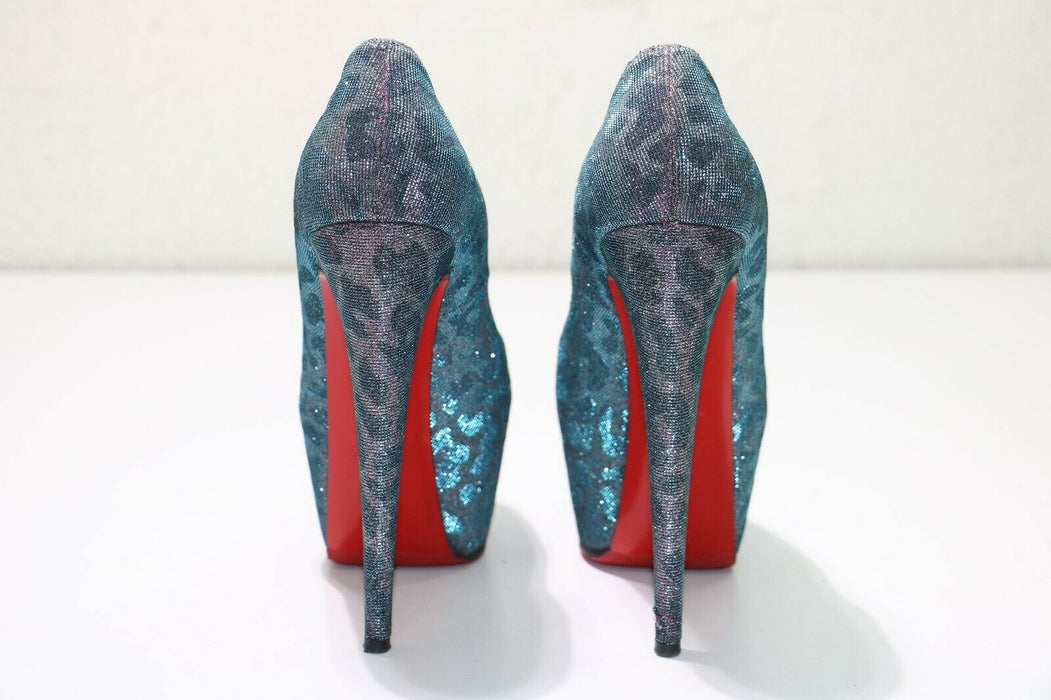 Christian Louboutin: Shoes Highness 160 Lame - Turquoise/Violet - Size: 39.5