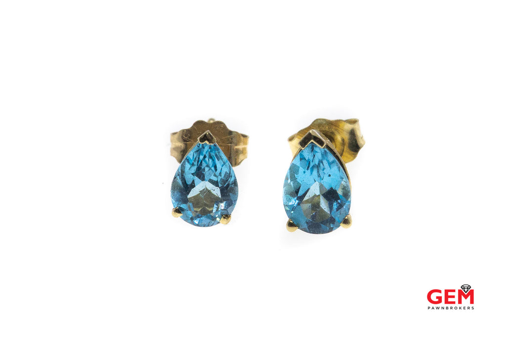Natural Blue Topaz Pear Gemstone Studs 14K 585 Yellow Gold Earrings