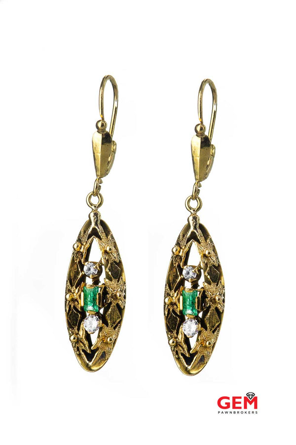 Natural Emerald & Cubic Zirconia Floral Drops 14K 585 Yellow Gold CZ Dangle Earrings
