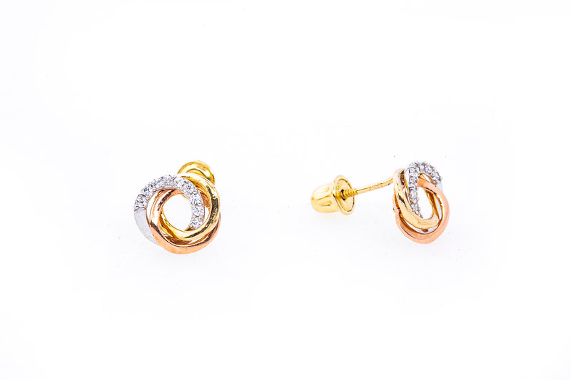 Interwoven Ring Cubic Zirconia Studs 14K White Rose & Yellow Gold Pair Earrings