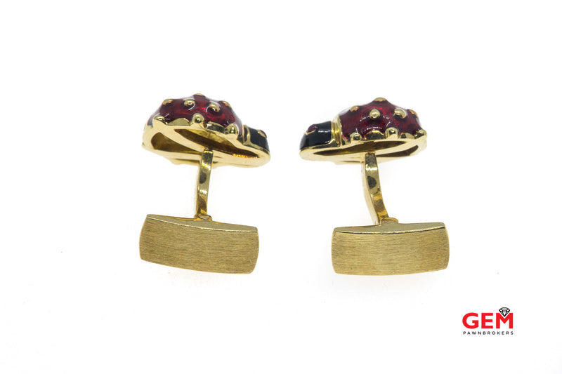 Sabbadini Enamel Lady Bug Animal 18k Yellow Gold 750 Tuxedo French Cuff Dress Cufflinks