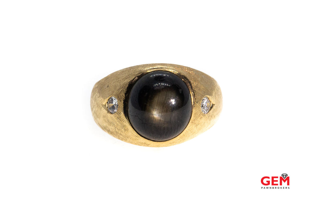 R & F Brush Finish Three Stone Natural Black Star Sapphire & Round Diamond 14K 585 Yellow Gold Ring Size 7 1/2