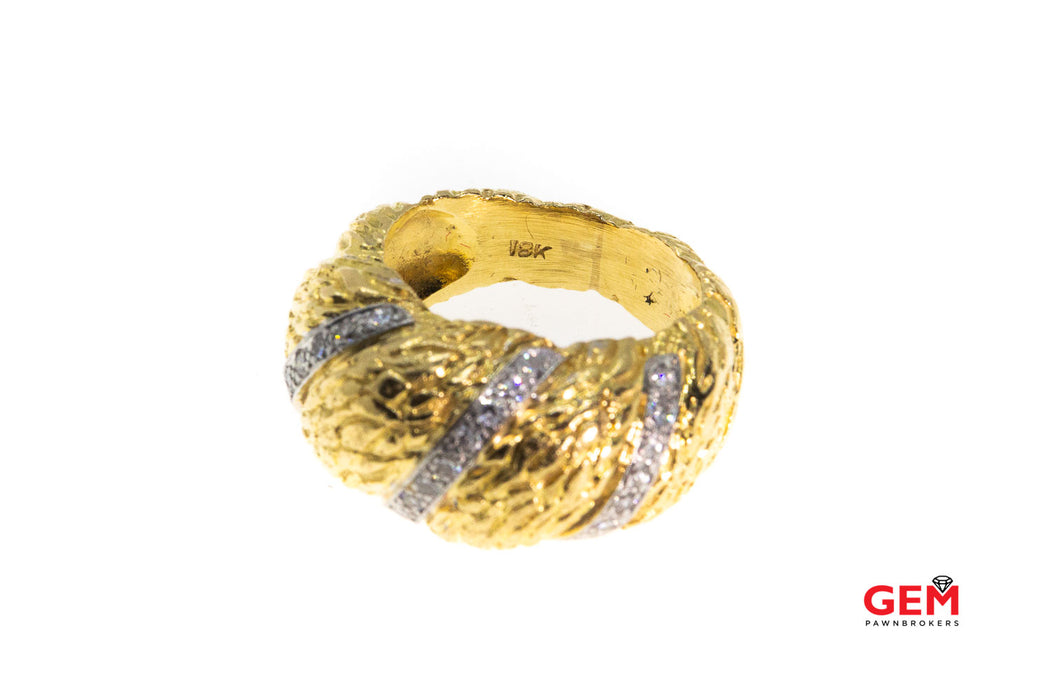 Estate Diamond Twisted Rope Statement 18K 750 Gold Dome Ring Size 5 1/2