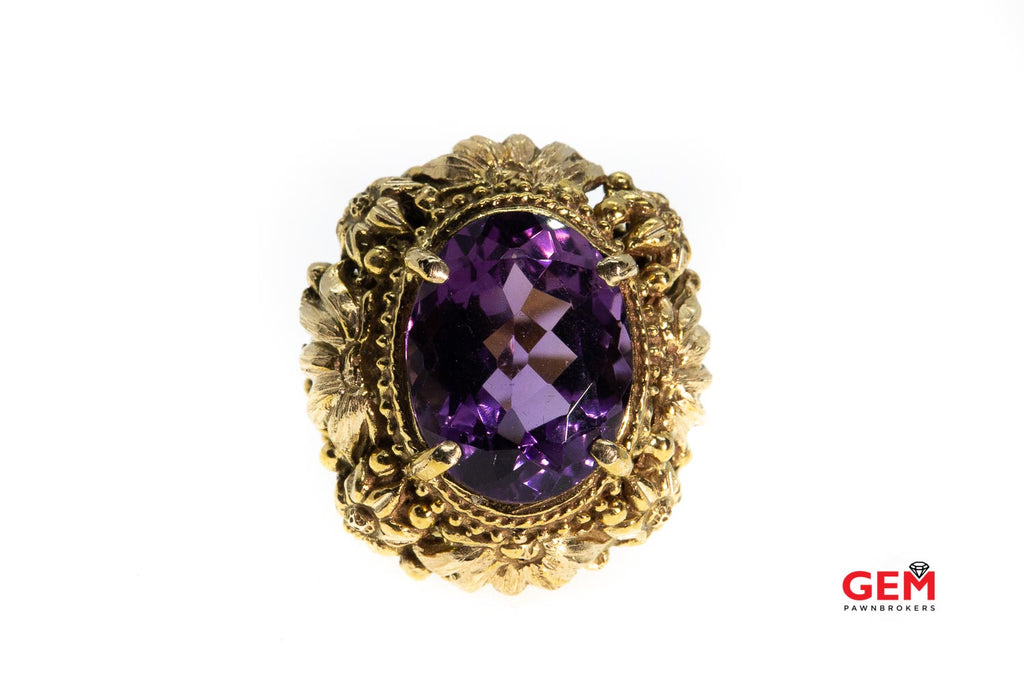 Vintage Oval Faceted Amethyst Floral Design 14Kt Solid Yellow Gold Size 7.5