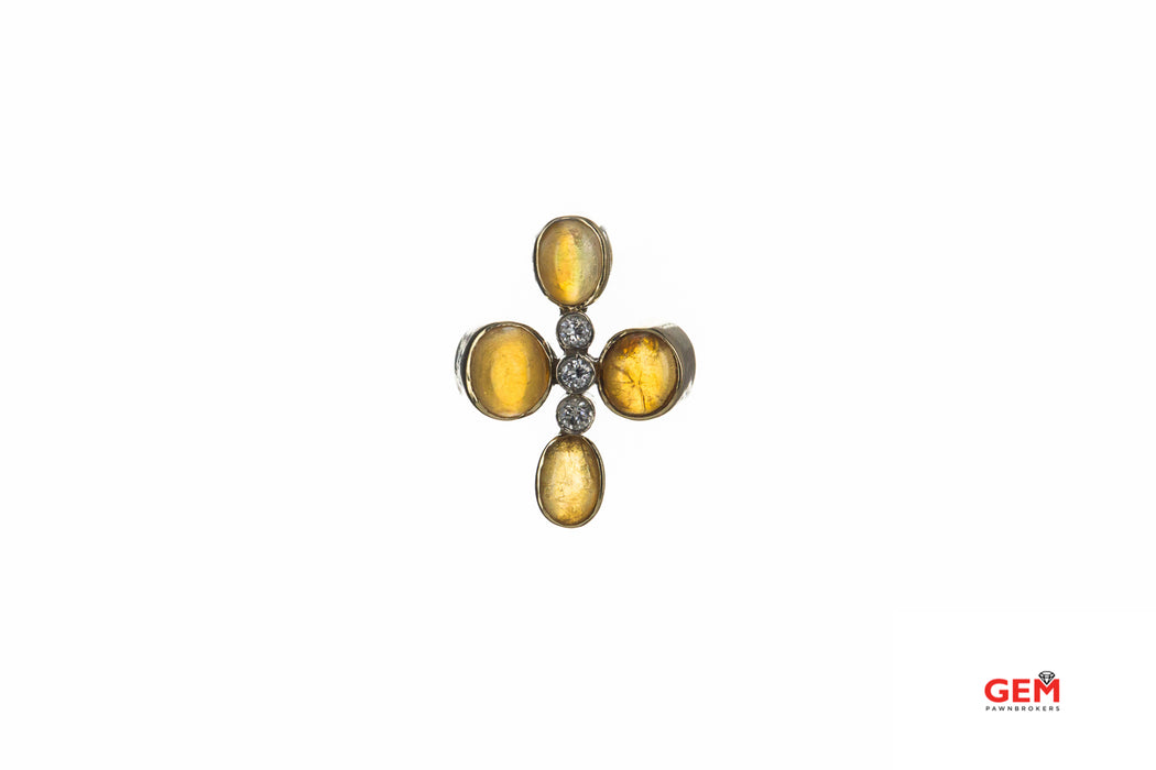 Cabochon Opal & Diamond Charm 14K 585 Yellow Gold Cross Pendant