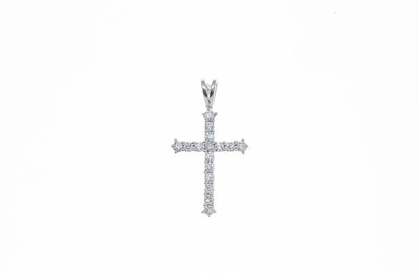 Religious Diamond Line Pave Cross Charm 14K 585 White Gold Drop Pendant