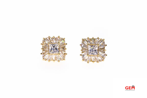 Cubic Zirconia Princess & Baguette Cluster Studs 14K 585 Yellow Gold Earrings