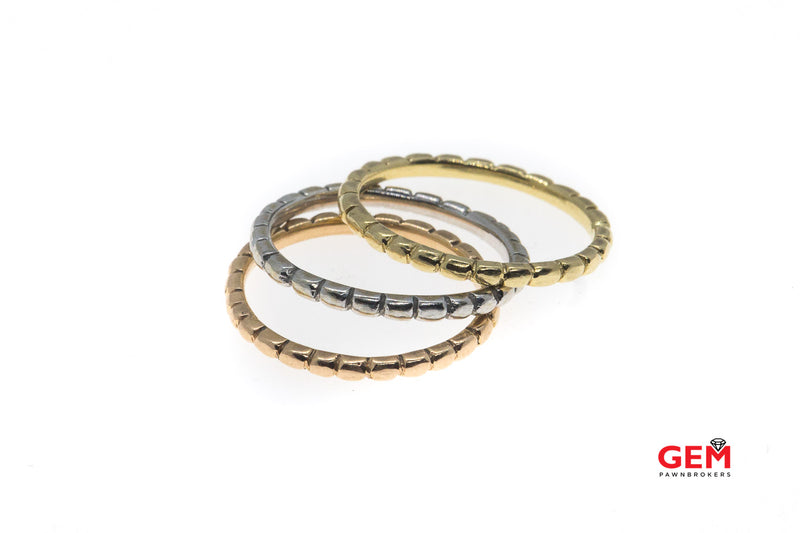 Thin Stackable Triple Tri-Color 1.6mm Bands Solid 14K 585 Yellow Rose & White Gold Rings Size 6